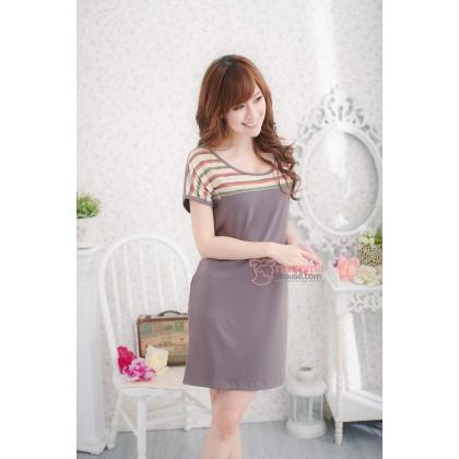 Nursing Dress - Top Orange Stripe Brown Grey