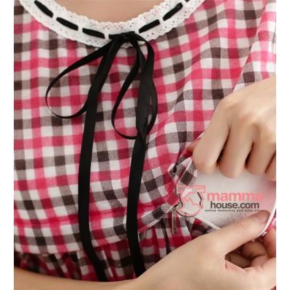 Nursing Dress - Ribbon Dot Orange Red