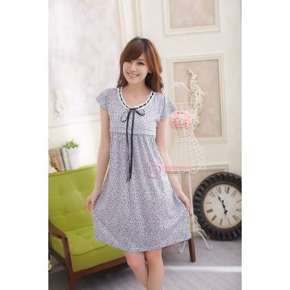 Nursing Dress - Ribbon Dot Light Grey Little