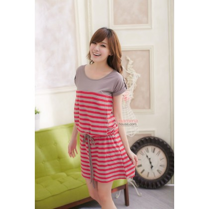 Nursing Dress - Cheri Stripe Red Grey