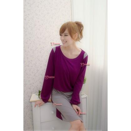 Nursing Dress - Long Grey Purple