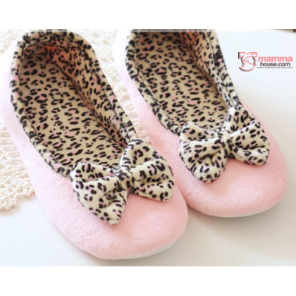 Confinement shoes - Leopard Ribbon (Black or pink)