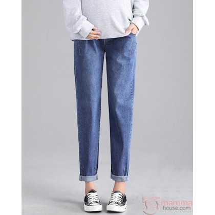 Maternity Jeans - Taper Elastic Jeans Blue or Light Blue