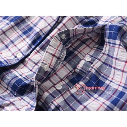 Maternity, Nursing Pajamas - JP Grid Blue or Red (set)