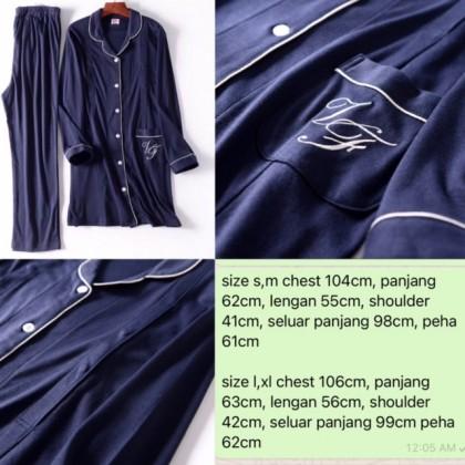 Mamma Pajamas - JP Long Dark Blue (set)