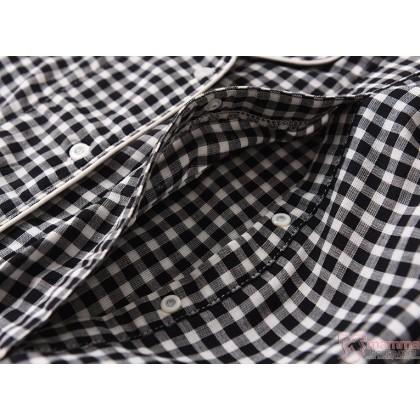 Maternity, Nursing Pajamas - JP Long Grid Black (set)