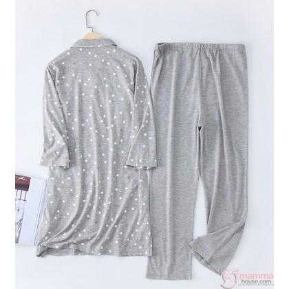 "Maternity, Nursing Pajamas - JP 7"" Sleve Blue or Grey (set)"