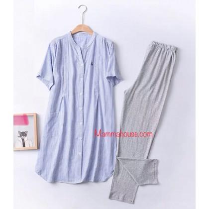 Maternity, Nursing Pajamas - JP Line Blue (set)