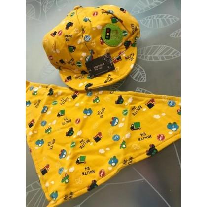 Baby Bib & Hat Set - Little Cars Yellow or Beige