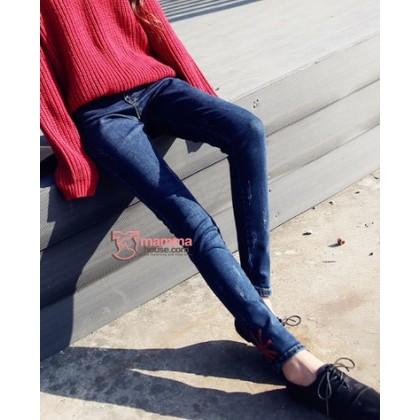 Maternity Jeans - Slim Blue Jack Red
