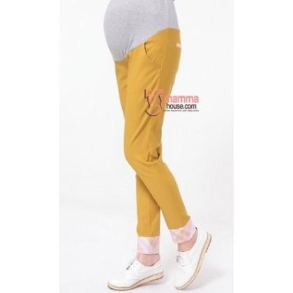 Maternity Pants - Fold Bevel Yellow