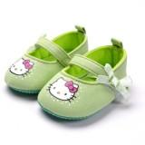 Baby Shoes - Kitty Ribbon Green