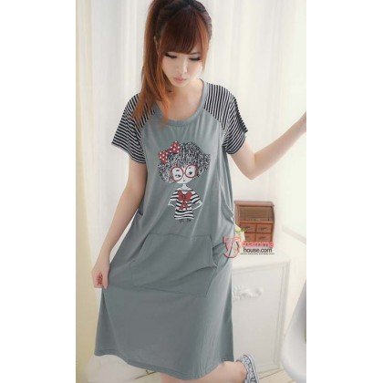 Maternity Pajamas Dress - Girl Grey