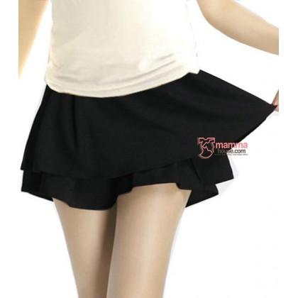 Maternity Short - Working Skirt Chiffon Black