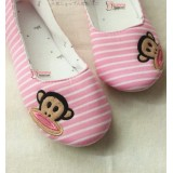 Mamma shoes - Stripe Monkey Pink-White