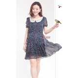 Maternity Dress - Joy Lace Collar Dark Blue