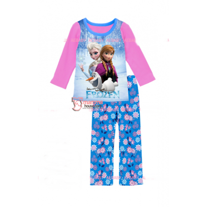 Baby Pajamas - 2 pcs Long Anna Elsa Blue Pants